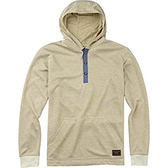 Burton Men's Dexter Hooded Henley Vanilla Stripe Sweatshirt XL