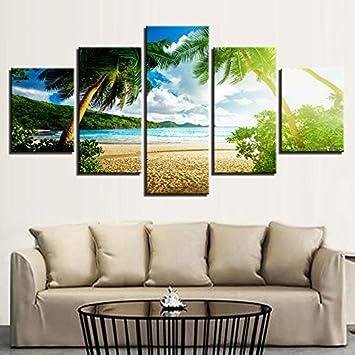 KANGZEDT Pintura sobre lienzo - 5 piezas 200*100CM Cielo azul playa palmera marina Cuadro en Lienzo - Abstracto Impresión de 5 Piezas Material Tejido no Tejido Impresión Artística Imagen Gráfica Decor