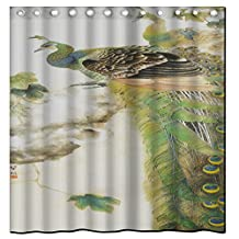 Saxon case_peacock-Chinese painting (17)_100% Polyester Fabric Shower Curtain Standard Size Custom The size:48x72inch/120x180cm