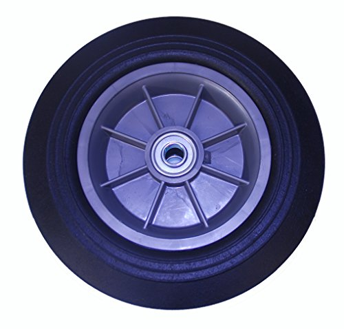8' Rubber Wheel (Mighty Lift W-0825-SPO-58B-3 Flat Free Solid Rubber Hand Truck Wheels, 8 Ribs Offset Pure New PP Rim, 5/8'' Flange Ball Bearing, 8'' x 2.5'')