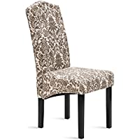 Merax Dining Chairs Script Fabric Accent Chair with Solid Wood Legs, Set of 2 (Beige&Flower)