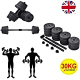 Costway 2 in 1 Dumbbell & Barbell Set 30KG Body Revolution Vinyl Bar Home Gym Fitness Free Weights...