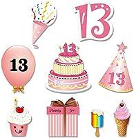 Howaf 48Pcs 13º cumpleaños DIY Photo Booth Atrezzo Favorecer photocall cumpleaños Accesorios Bigotes Gafas máscara para 13 Años Decoración de ...