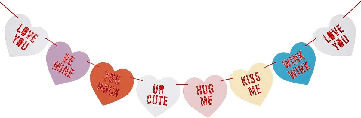 Valentines Conversation Candy Hearts Banner- Red Glitter, Candy Heart Decorations, Conversation Heart Decor, Valentine's Banner, Mantel Decor Valentines, Valentines Day Decorations
