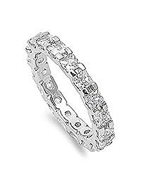Sterling Silver .925 CZ Cubic Zirconia Women's Princess Cut Eternity Wedding Band Ring Sz 5-10