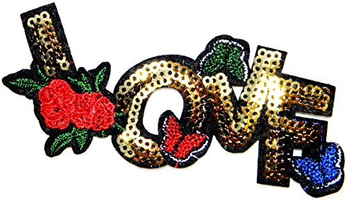 LOVE Butterfly Red Rose Sparkly Sequin Shine Shiny Patch Sew Iron on Embroidered Applique Craft Handmade Baby Kid Girl Women Sexy Lady Hip Hop Cloths DIY Costume ()