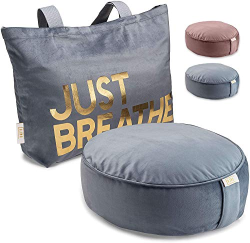 Ajna Yoga Buckwheat Meditation Pillow - Comfortable Bolster Meditation Cushion - Velvet Zippered Organic Cotton Liner to Add/Remove Hulls - Machine Washable - Carrying Handle & Free Carry Bag (Inflatable Meditation Pillow)