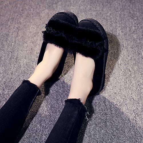 Noir Femme Peluche Mocassins Hiver Fausse Coton Chaussures Maison Dames Intérieur Chaud En Pantoufles Femmes Fourrure Sx4w6Agpq