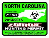 NORTH CAROLINA Zombie Hunting Permit 2014/2015 Car Decal / Sticker