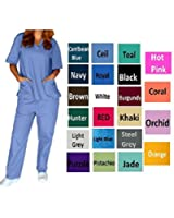 Womens V-Neck Solid Scrub Set Top and Pant 2 Piece Sets Sizes XS-5XL
