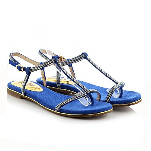Amoonyfashion Donna Morbido Materiale Diviso Punta Sandali Senza Fibbia Tacco Fibbia Blu