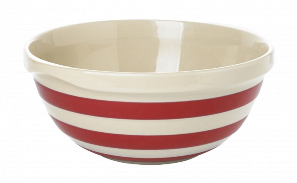 Cornishware Red and White Stripe Stoneware Mixing Bowl by Cornishware