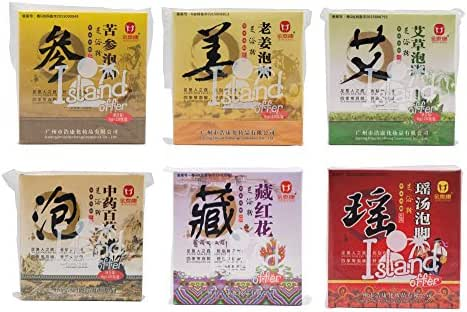 6 Favors of Foot Reflexology Chinese medicine foot bath powder kits cold blood (Wormwood, Ginger, Saffron,Chinese Herbs, Yao Herbs, Genseng)