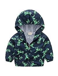 Boys Spring Hooded Jacket Windbreaker Coats Kids Thin Dinosaur Outdoor Jackets