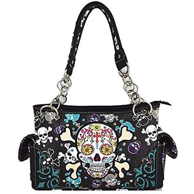 Sugar Skull Day of the Dead Cross Bone Concealed Carry Purse Women Cross Body Handbag Shoulder Bag Wallet (Black Handbag/Wallet)
