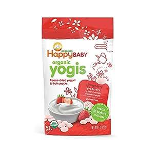 Happy Baby Organic Yogis Freeze-Dried Yogurt & Fruit Snacks, Strawberry, 1 Ounce (Pack of 8)