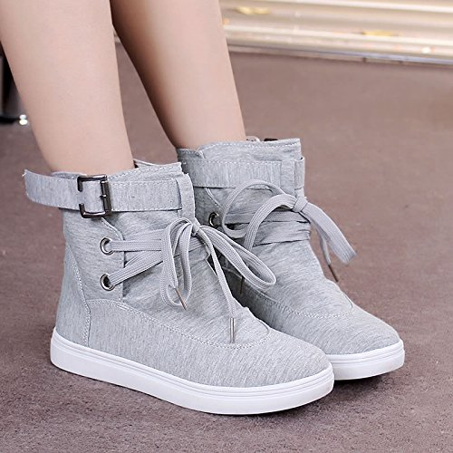 Flat GTVERNH Head Korean Version Shoes Round Women'S New Style Shoe Short Flat Female Bottom Forty Canvas Boots High one Of Shoes Single Bottom Leisure rw0UrAHq