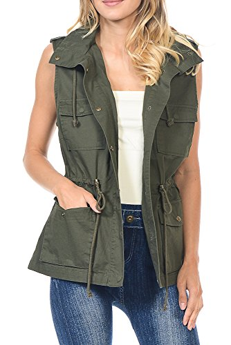 Califul Anorak Lightweight Utility Hooded Parka Sleeveless Vest with Drawstring (Small, VS01 Olive)