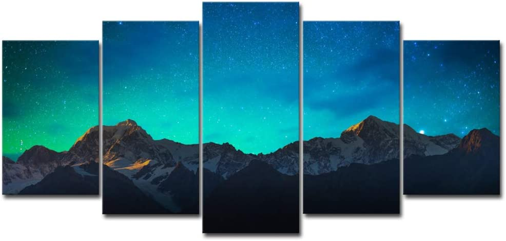 Wieco Art Canvas Prints Wall Art Mount Cook and Lake Matheson New Zealand with Milky Way Modern 5 Piece Giclee Artwork Starry Night Pictures Paintings for Bedroom Kitchen Living Room Home Decorations