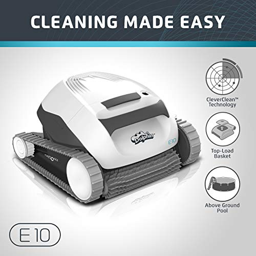 - Dolphin E10 Automatic Robotic Pool Cleaner with Easy to Clean Top Load Filter Basket Ideal for Above Ground Swimming Pools up to 30 Feet