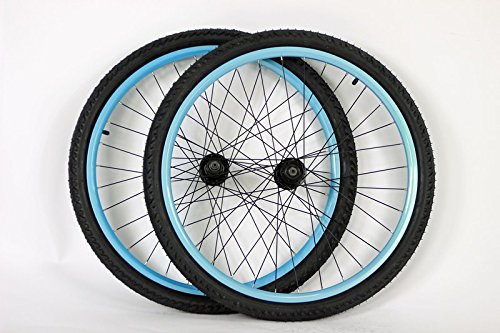 Disc 26 Inch Mtb Rim - 26 inch Mountain Bike Bicycle Wheels for Disc or Rim Brakes with Kenda Kobra 26 X 2.0 Tires and Tubes (Clear Blue)