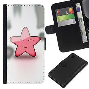 KLONGSHOP // Tirón de la caja Cartera de cuero con ranuras para tarjetas - Estrella rosada linda Friendly Art Sky Dream Fairytale - Sony Xperia Z1 L39 //