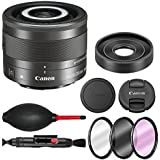 Canon EF-M 28mm f/3.5 Macro IS STM Lens with 3 piece filter kit (UV, CPL, FLD), Rubber air dust blower, Lens cleaning pen