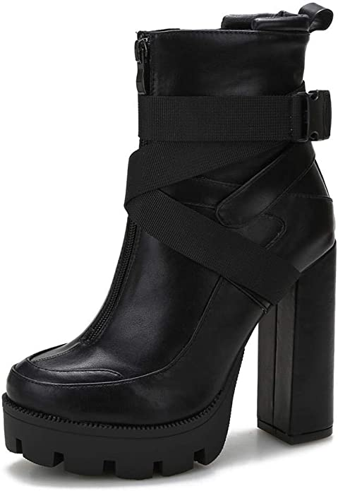 Details about  /Chic Womens PU Leather Round Toe Lace Up Platform Block Heel Knee Boots Shoes @