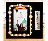 Mozlly Fashioncraft Marquee Design Graduate 4x6 Glass Photo Frame - 9 x 9 inch - Velvet Back - Hollywood Style Lights and Stars - Home Decor Accents