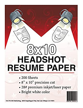 High Quality 8 X 10 Headshot Resume Paper  8x10 Resume Paper