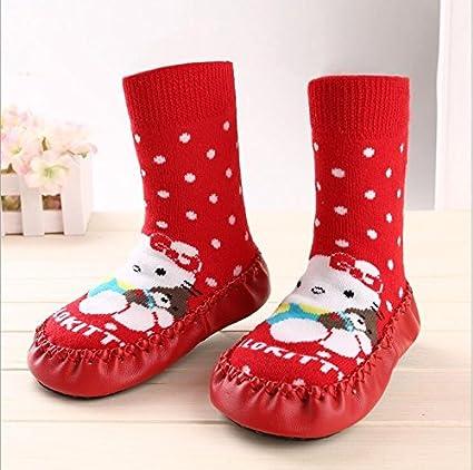 Calcetines tipo zapato antideslizantes Bebedou, transpirables, cálidos, con suela de piel
