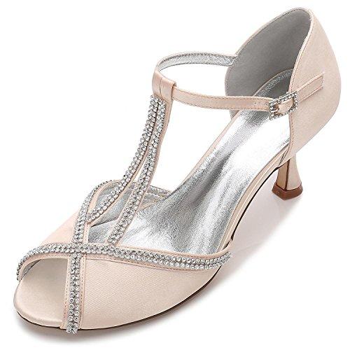 L@YC Frauen Hochzeit Schuhe E17061-11 Schnalle Diamant Stitching Spitze Peep Toe Sommer Braut Prom Champagne