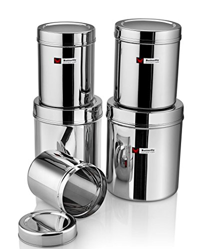Butterfly Stainless Steel Container (No. 1-5), 10 Pieces, Silver Price & Reviews