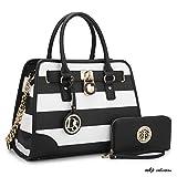 MKP Collection Fashion Woman Handbag and Wallet set~Beautiful Tote~Designer Satchel~Nice Purse (6892W) BK/WT