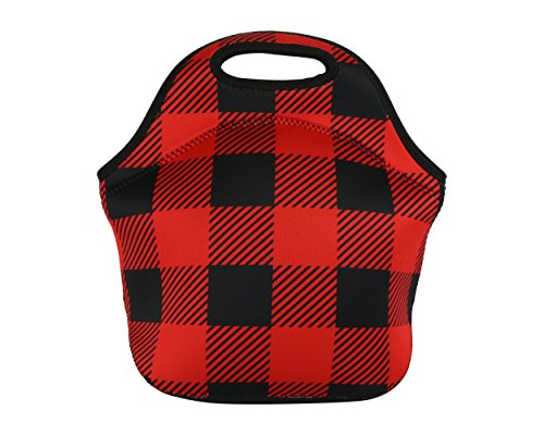 Neoprene Lunch Bag, Eco-Friendly Lunch Tote With Zipper- Reusable-Washable Insulated Carrying Bag To Keep Your Food Fresh– Stylish Unisex Picnic Bag For Women and Adults -Red Buffalo Plaid