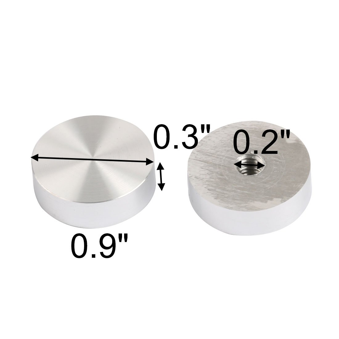 8pcs 24mm Durchm Silber Ton Büro Rund Tee Tabelle Aluminiumscheiben Adapter