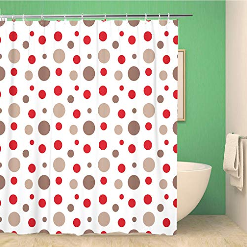 Awowee Bathroom Shower Curtain Colorful Baby Red Brown White Circles Pattern Monkey Sock Polyester Fabric 72x72 inches Waterproof Bath Curtain Set with Hooks