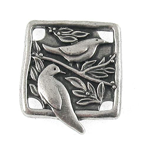 Dark Silver Pewter Botanical Bird Link TierraCast Woodland Connector (2 Pcs)