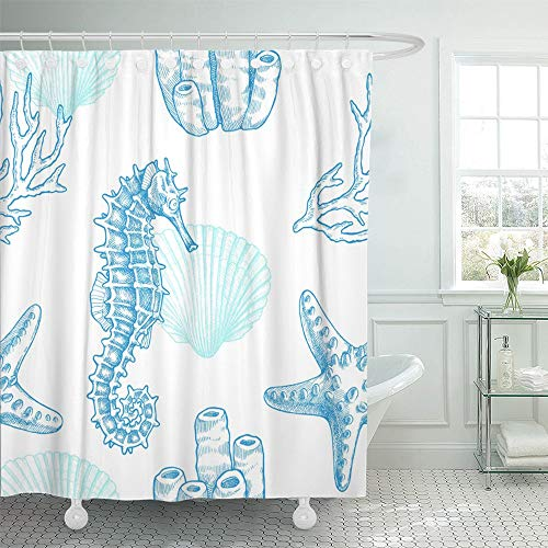 Emvency Shower Curtain Waterproof Adjustable Polyester Fabric Reef Sea Life Vintage of Seahorse Starfish Coral Sprigs and Seashell Marine Retro 60 x 72 Inches Set with Hooks for Bathroom