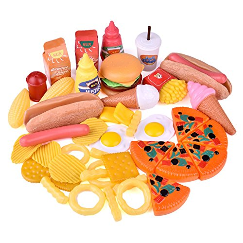 Food Plastic Fake (FUN LITTLE TOYS Play Food for Kids Kitchen, Pretend Play Plastic Food Toy for Toddlers, 49 pcs)
