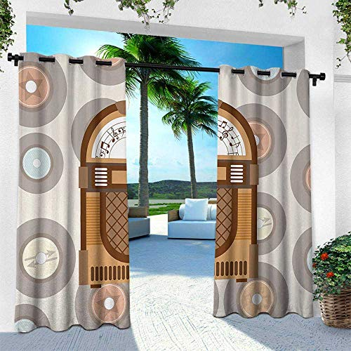 (Hengshu Jukebox, Fashions Drape,Pick Up Music with Vintage Abstract Long Players Backdrop, W84 x L96 Inch, Brown Light Coffee Grey and Peach)