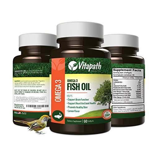 Omega 3 Fish Oil High potency 1480mg, Essential Fatty Acid Combination, High in EPA and DHA 60 Lemon flavored Softgels, Supports Immune, Joint, Skin, and Mental Health By (High Potency Natural Salmon Oil)