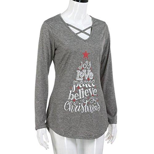 Felpa Shirt Sciolto Collo Buon V Kword Casual Primer Grigio Camicetta Stampata Donna Inverno Cappotto Tops Christmas Natale T Camicia wXqc8XaR
