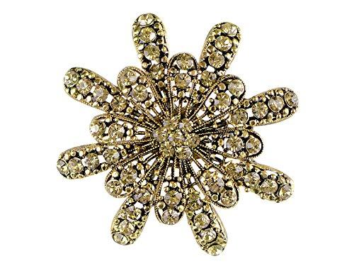 Alilang Gerber Daisy Snowflake Holiday Festive Gold Diamond-Like Flower Brooch Pin