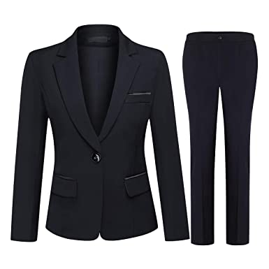 Womens Business Casual Suit jacket + Pants Womens Suits Are Now Popular New Solid Color Retro Ladies Suit Two-piece Suit