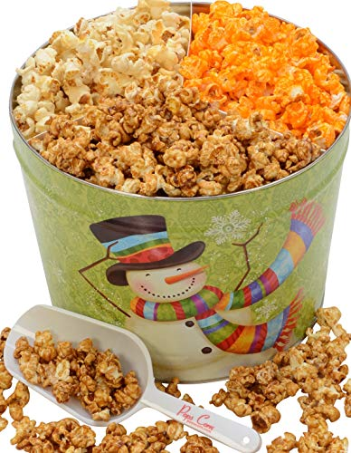Christmas Gourmet Large Popcorn Tin -2 gallons- 3 Flavors - Popped Fresh-FREE Scooper and Bags!