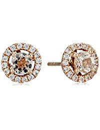 10k Rose Gold Morganite and Created White Sapphire Round Halo Stud Earrings
