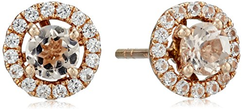 10k Rose Gold Morganite and Created White Sapphire Round Halo Stud Earrings 10k White Gold Created Sapphire