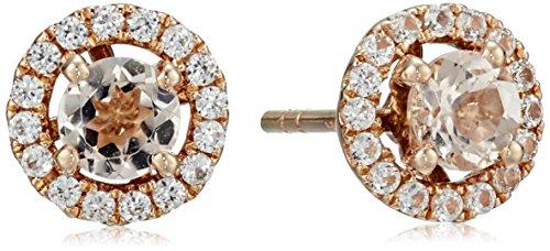 Morganite White Earrings - 10k Rose Gold Morganite and Created White Sapphire Round Halo Stud Earrings