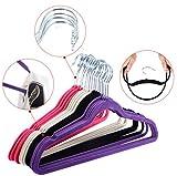 60 PCS Non Slip Velvet Clothes Suit Pants 4 colors the Shape Suit/Shirt/Pants Hangers Multicolor